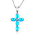 Blue Fire Cross Pendant