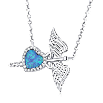 Caduceus Heart Necklace