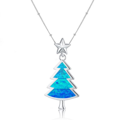 Little Christmas Tree Necklace (Blue)