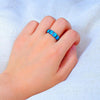 Midnight Ocean Galaxy Ring - Blue Opal