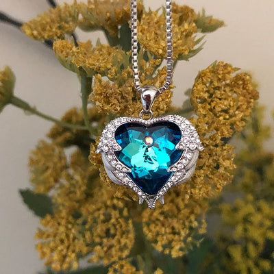 Blue Angel Heart Pendant - Blue Opal
