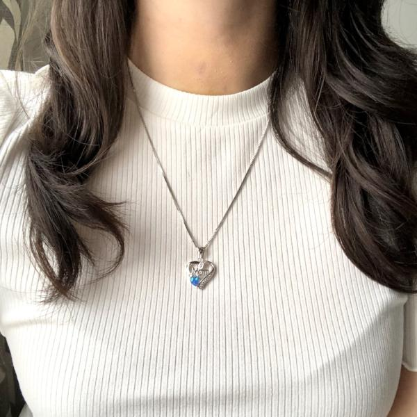 Mom Heart Pendant - Blue Opal