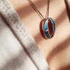 Double Moon Pendant - Blue Opal