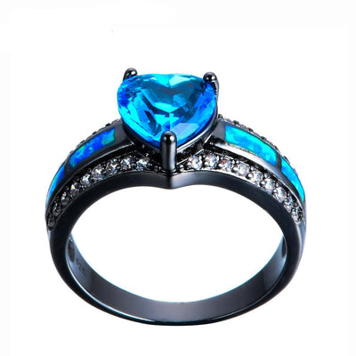 Electric Blue Heart Ring - Madison Ashley