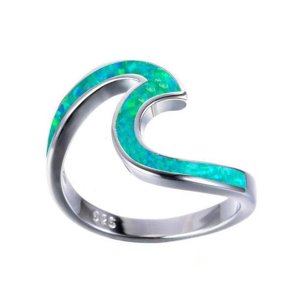 Emerald Sea Wave Ring - Blue Opal