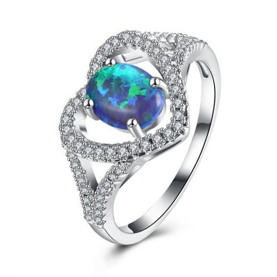 Crystal Lined Heart Ring - Blue Opal