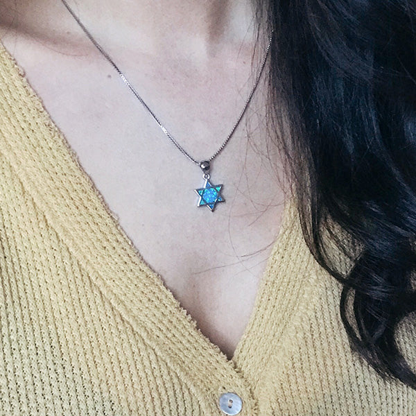 Star of David Pendant - Blue Opal
