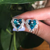 Blue Angel Heart Earrings - Blue Opal