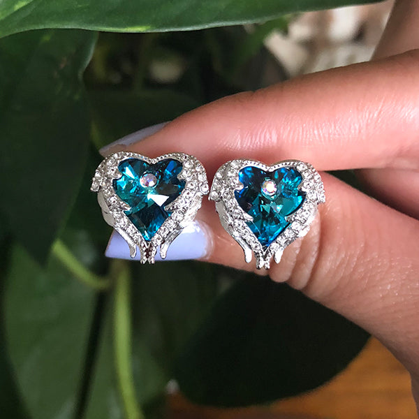Blue Angel Heart Earrings