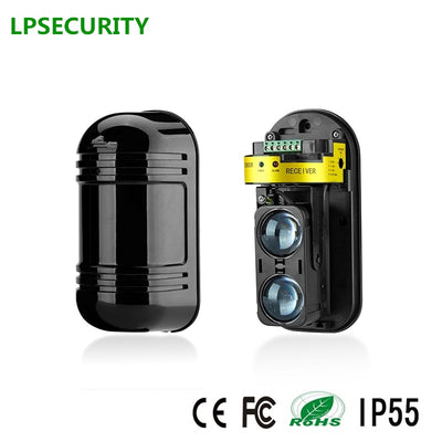 LPSECUIRTY Dual Beam Sensor, Outdoor Perimeter Wall Barrier Fence for GSM alarm