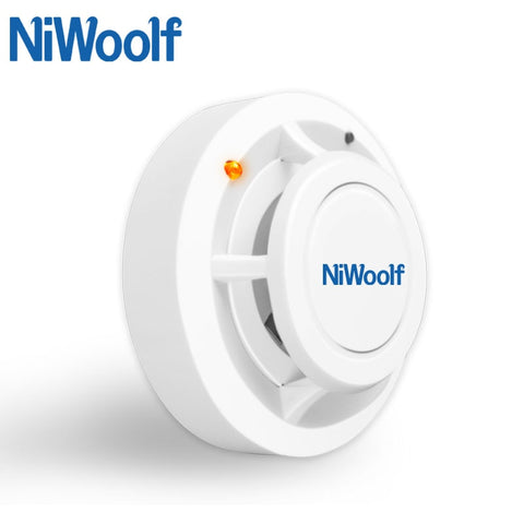 Image of New Niwoolf Wireless Smoke detector 433MHz High sensitivity, For GSM alarm system, Security alarms, 1 battery work over 2 year
