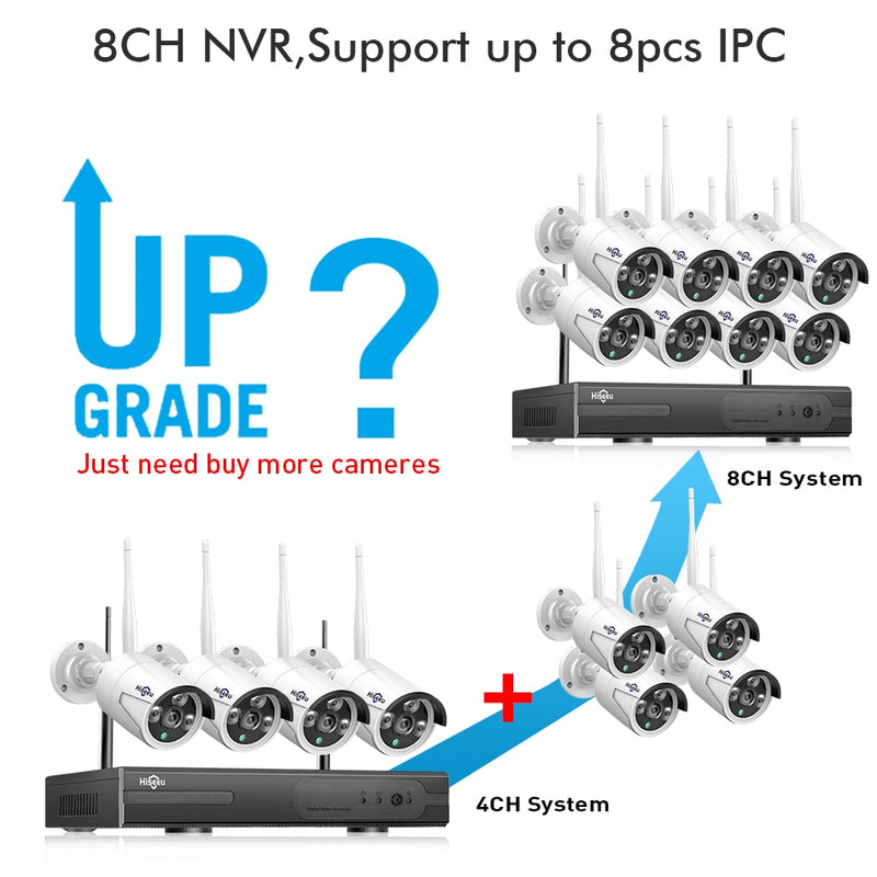 Hiseeu 8CH Wireless CCTV System 1080P 1TB 4pcs 2MP NVR IP IR-CUT outdoor CCTV Camera IP Security System Video Surveillance Kit