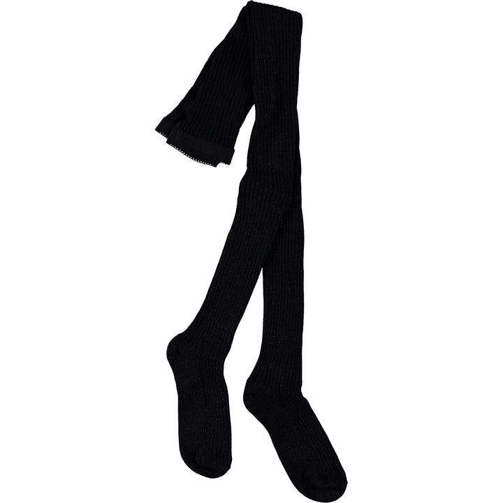 Glitter Rib Tights - Black