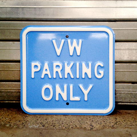 VW Metal Sign - VW Parking Only Square - 5 Colours - The Metal Sign Store