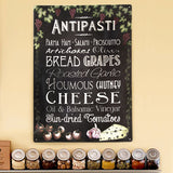 Antipasti Chalkboard Effect Kitchen Metal Sign - The Metal Sign Store