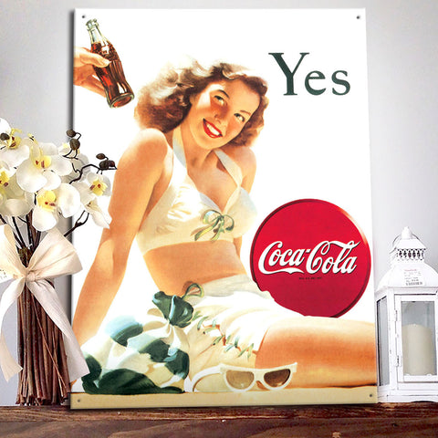 Coca Cola Vintage Advert Metal Sign - Lady in a Bathing Suit - The Metal Sign Store
