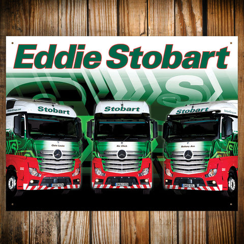 Eddie Stobart Metal Sign - Three Lorries In A Row - The Metal Sign Store