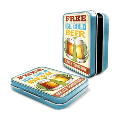 Free Ice Cold Beer Metal Tin - The Metal Sign Store