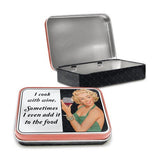 I Cook With Wine...Sometimes I Even Add It To The Food Metal Tin - The Metal Sign Store