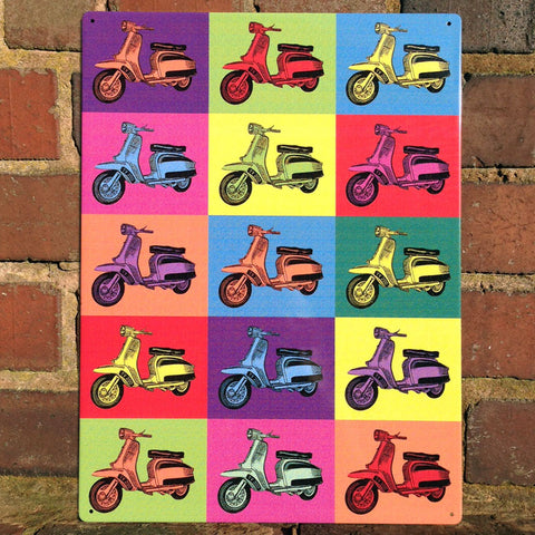 Lambretta Metal Sign - Pop Art Scooter Montage - The Metal Sign Store