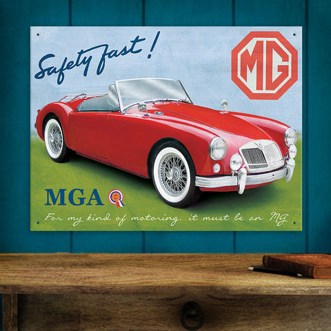 MG Metal Sign - Red MGA Classic Car - The Metal Sign Store