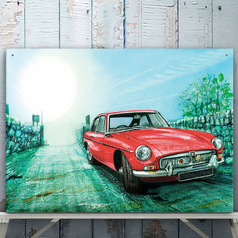 MG Metal Sign - Country Lane MGB Classic Car Water Colour - The Metal Sign Store