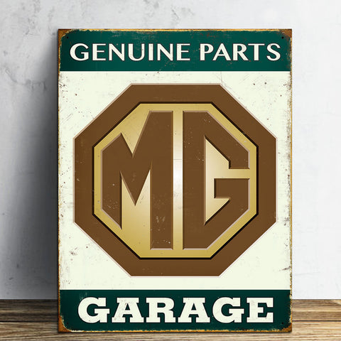 MG Metal Sign - Genuine Parts Garage - The Metal Sign Store