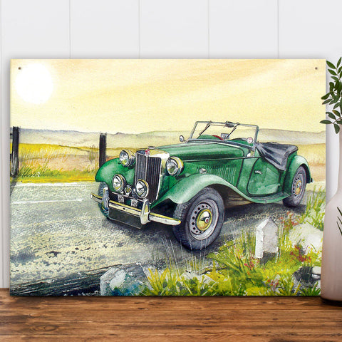 MG Metal Sign - Green MGTD Classic Car Water Colour - The Metal Sign Store