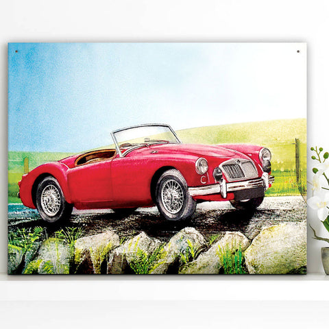 MG Metal Sign - Red MGA Classic Car Water Colour - The Metal Sign Store
