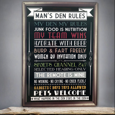 Man's Den List of Rules Metal Sign - The Metal Sign Store