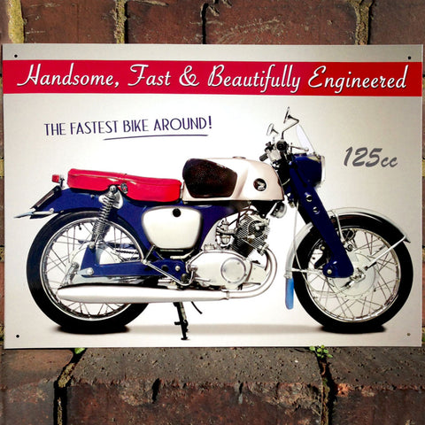 Motorbike Metal Sign - Classic CB92 Benly - The Metal Sign Store