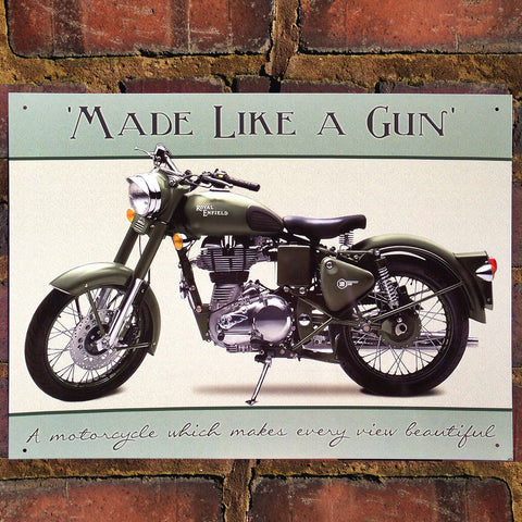 Motorbike Metal Sign - Classic Royal Enfield Bullet - The Metal Sign Store