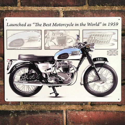 Motorbike Metal Sign - Classic Triumph Bonneville 1959 - The Metal Sign Store