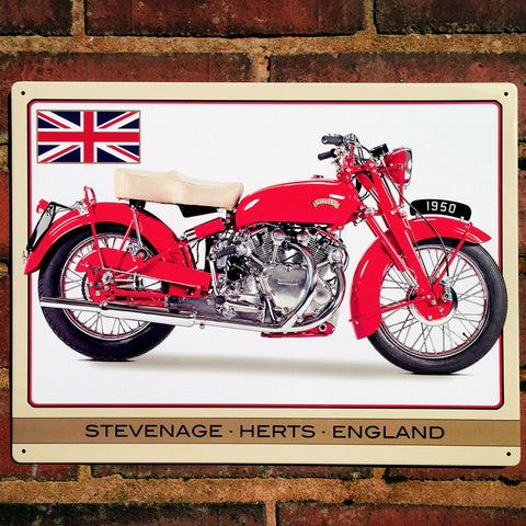 Motorbike Metal Sign - Classic Vincent Touring Rapide - The Metal Sign Store
