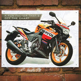 Motorbike Metal Sign - Honda CBR250R Repsol - The Metal Sign Store