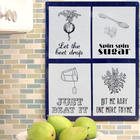 Pop Music Puns Kitchen Mix Metal Sign - The Metal Sign Store