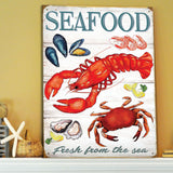 Seafood American Diner Style Metal Sign - The Metal Sign Store