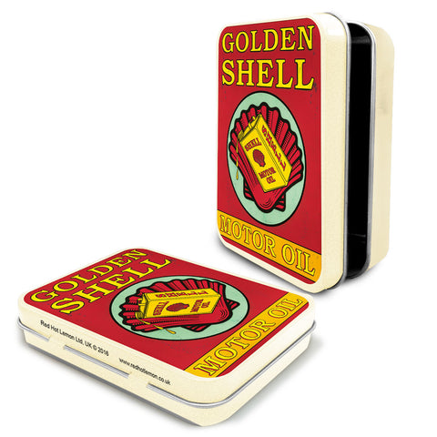 Shell Metal Tin - Golden Shell Motor Oil - The Metal Sign Store