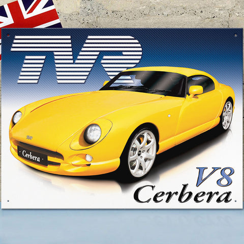 TVR Metal Sign - TVR Cerbera V8 - The Metal Sign Store