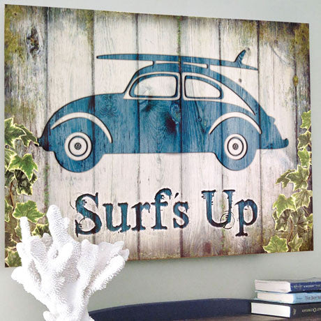 VW Metal Wall Sign - Surf's Up Beetle - The Metal Sign Store