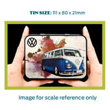 VW Metal Tin - Grungy Dark Blue Campervan - The Metal Sign Store
