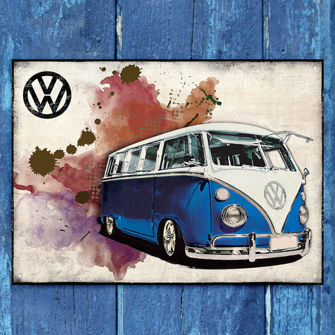 VW Metal Sign - Blue Grunge Classic Campervan - The Metal Sign Store