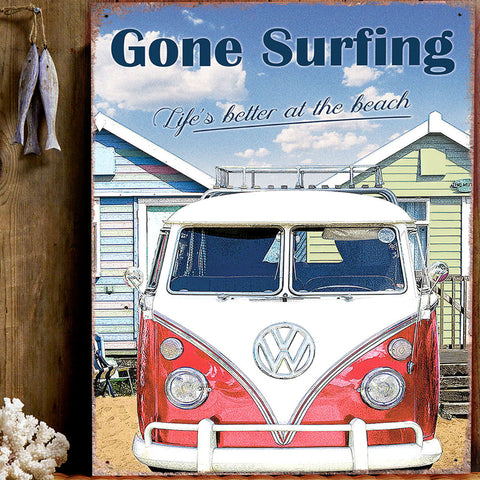 VW Metal Sign - Classic Campervan Gone Surfing - The Metal Sign Store