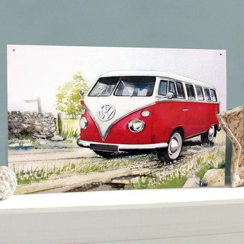 VW Metal Sign - Classic Campervan in a Country Lane Watercolour - The Metal Sign Store