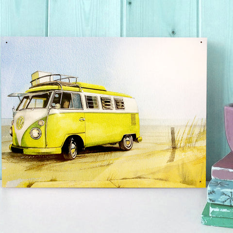 VW Metal Sign - Classic Campervan on the Beach Watercolour - The Metal Sign Store
