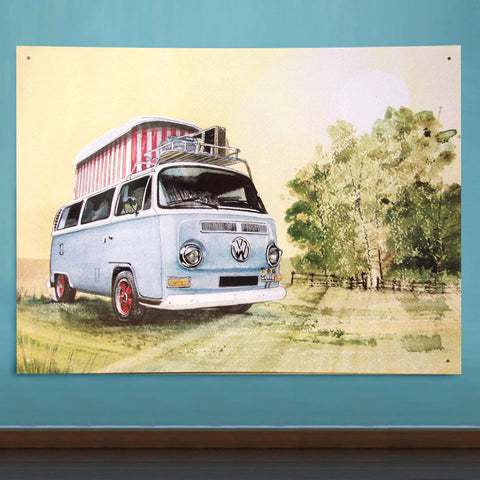 VW Metal Sign - Classic Camping T2 Popup Campervan Watercolour - The Metal Sign Store