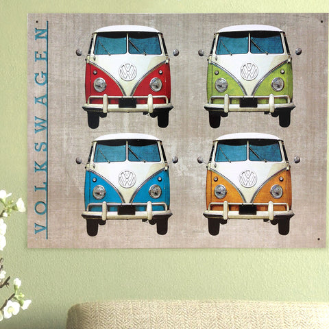 VW Metal Sign - Colourful Campervan Quad - The Metal Sign Store