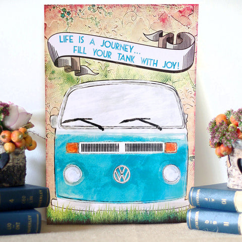 VW Metal Sign - Life is a Journey T2 Campervan - The Metal Sign Store