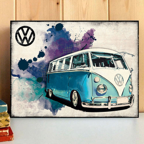 VW Metal Sign - Light Blue Grunge Classic Campervan - The Metal Sign Store