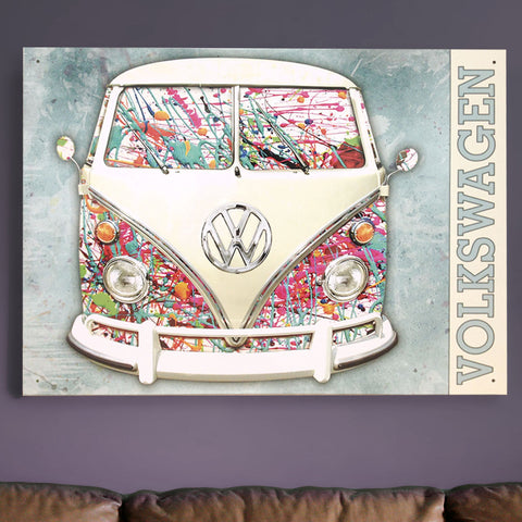 VW Metal Sign - Paint Splatted Volkswagen Campervan - The Metal Sign Store